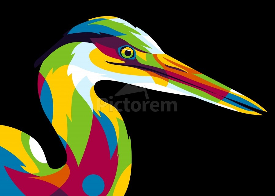 Great Heron in Pop Art Style  Print