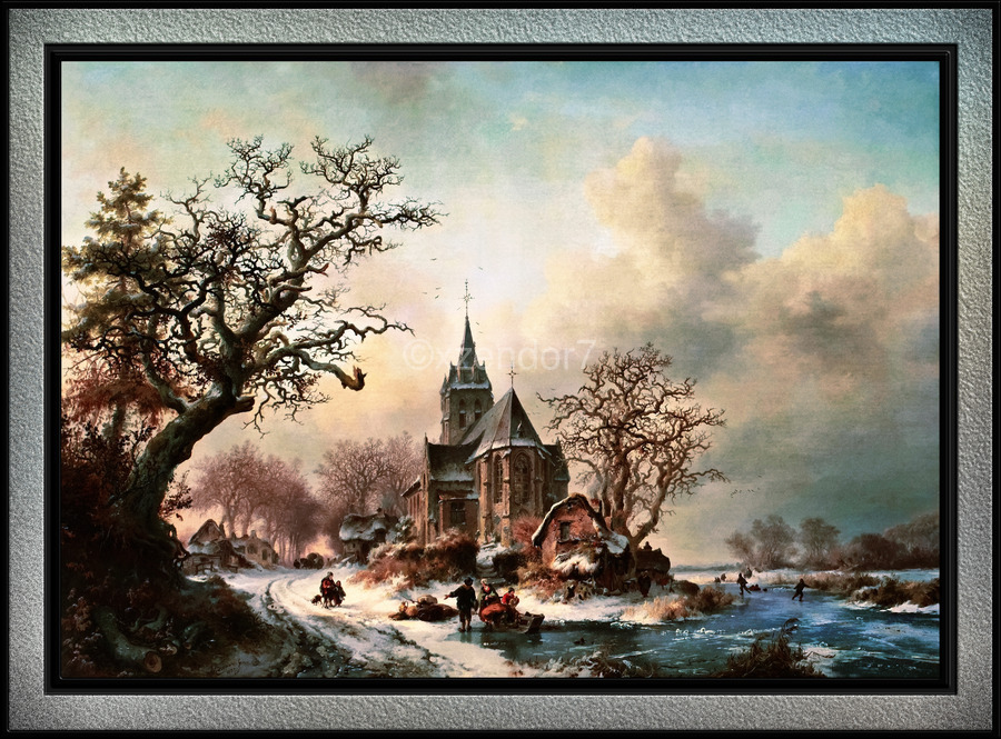 Winter Landscape with Activities by a Village by Frederik Marinus Kruseman Old Masters Classical Fine Art Reproduction  Print