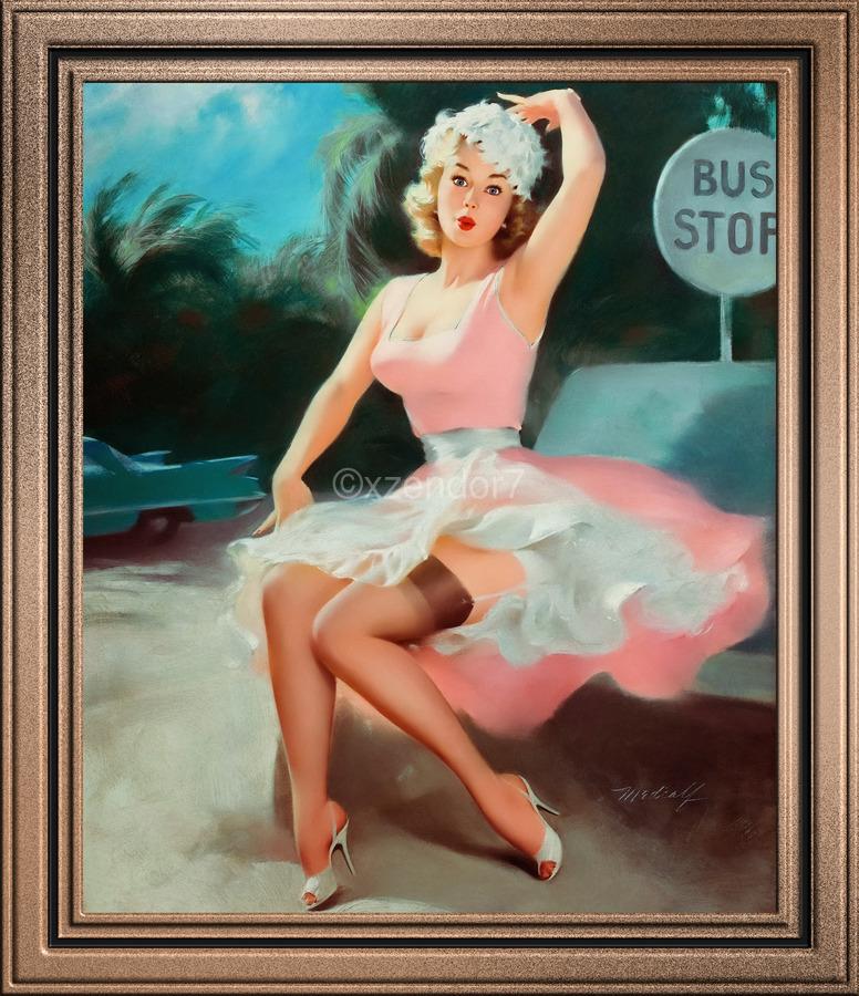 Bus Stop Pinup Girl Vintage Artwork  Print