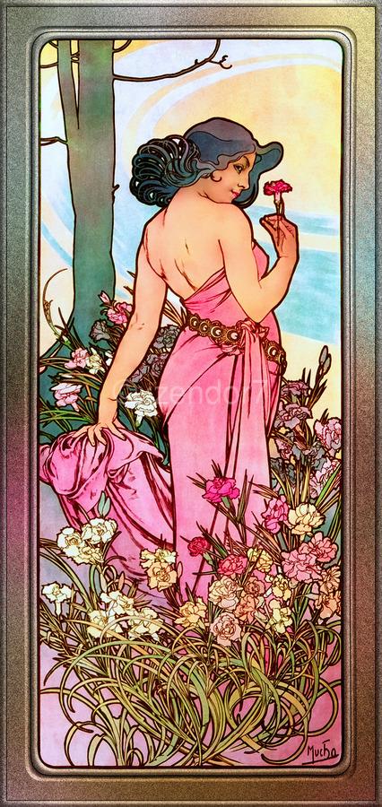 Carnation Art Nouveau Portrait by Alphonse Mucha Vintage Old Masters Art Nouveau Reproduction  Print
