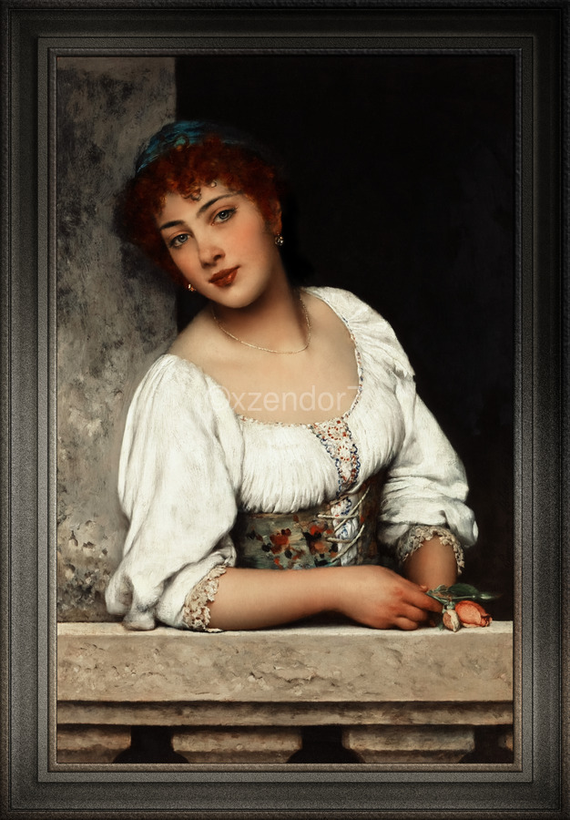 Girl At The Window by Eugen von Blaas Classical Art Xzendor7 Old Masters Reproductions  Print