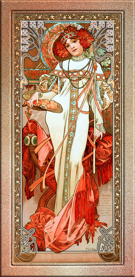 LAutomne by Alphonse Mucha Old Masters Reproduction  Print