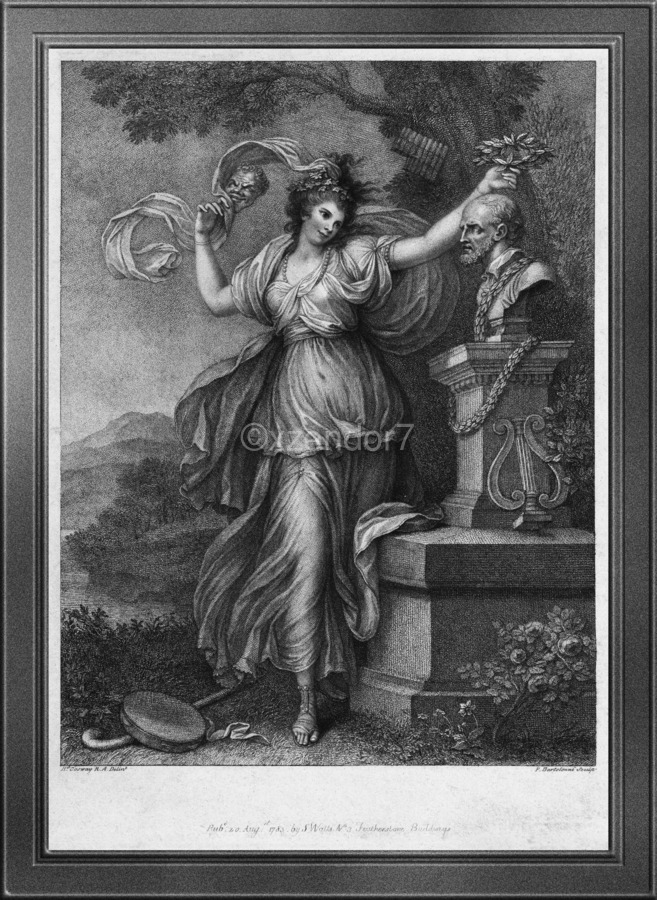 Mrs. Abington as Thalia by Engraver Francesco Bartolozzi Classical Art Old Masters Reproduction  Print