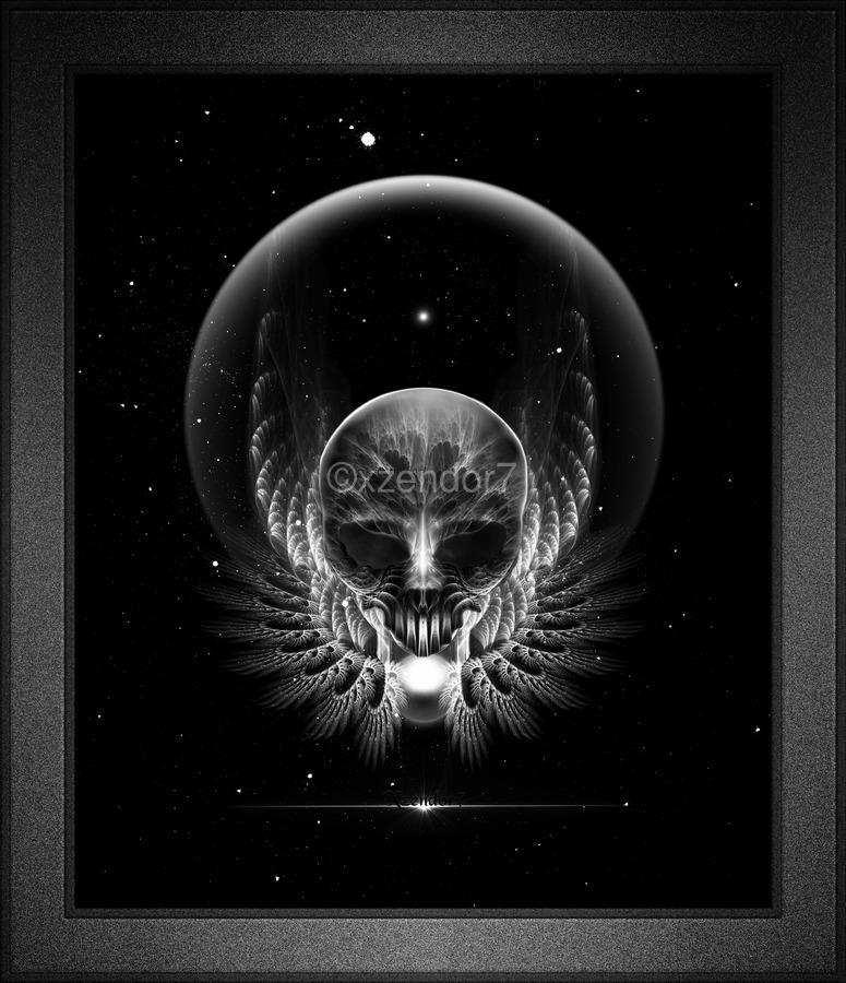 Gothic Wing Feitan Skull Fractal Art Composition  Print