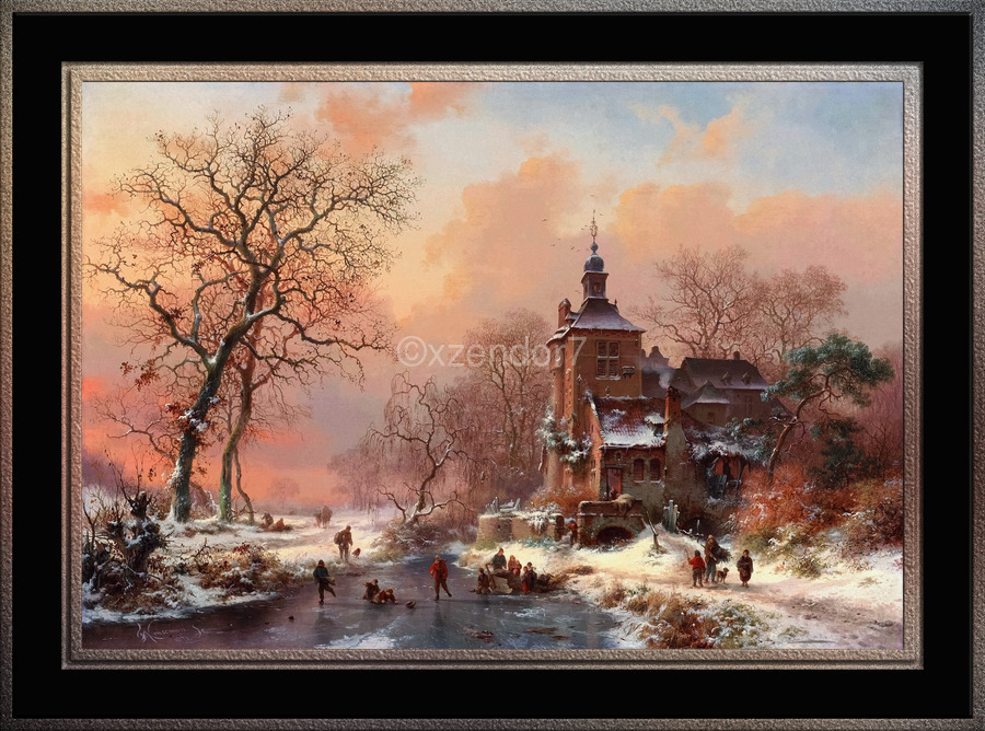 Winter Landscape with Skaters on a Frozen River by Frederik Marinus Kruseman Fine Art Old Masters Reproduction  Print