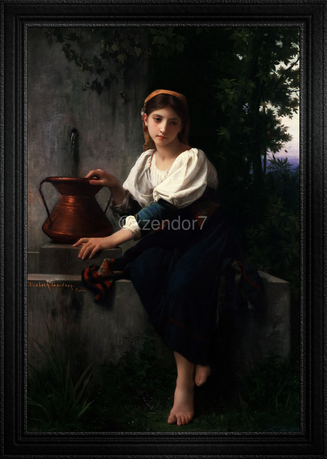 Young Girl Gathering Water At The Fountain by Elizabeth Gardner Classical Fine Art Xzendor7 Old Masters Reproductions  Print