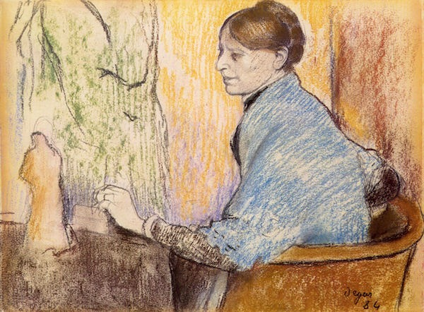 Mme Henri Rouart before a  statue by Degas  Print