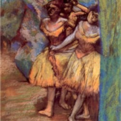 Three dancers behind the scenes by Degas  Print