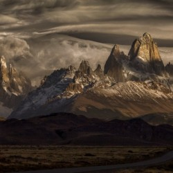 Striped sky over the Patagonia spikes