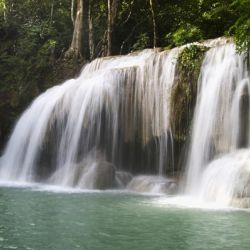 Thailand, Kanchanaburi Province, Erawan National Park, One Of The Falls From The 7-Tiered Erawan Waterfall