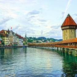 Chapel Bridge and Old Town at Sunset Lucerne Switzerland