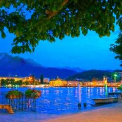 City Lights over Lake Lucerne Switzerland