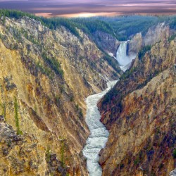 Grand Canyon of Yellowstone - The Falls and River in the Fading Light of Day  Yellowstone National Park at Sunset