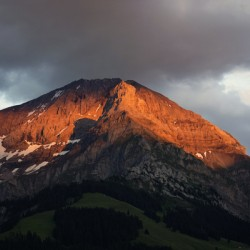Mountain Bathed in the Golden Rays of the Sun at Sunset in Switzerland 3 of 3