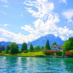 Perfect Day on the shores of Lake Lucerne Switzerland