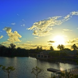 Rainbow Sunrise over the Lagoon