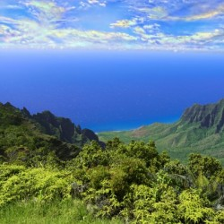 Sunset at Puu O Kila Lookout Kohala Mountains on the Island of Kauai in Hawaii 1 of 2