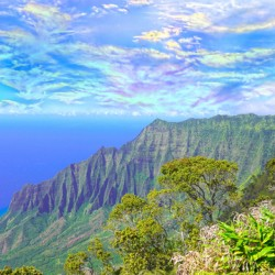 Sunset at Puu O Kila Lookout Kohala Mountains on the Island of Kauai in Hawaii 2 of 2 Panorama