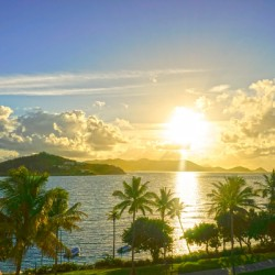 Sunset over Saint Thomas in the Caribbean Islands