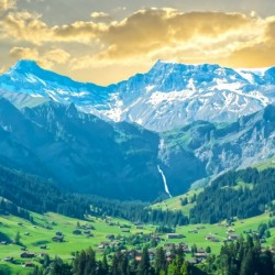Sunset in the Swiss Alps with Waterfalls
