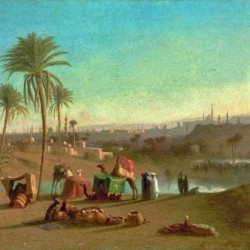 A Camel Train at an Oasis, Cairo Beyond 1853