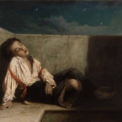A boy sleeping on the London bridge