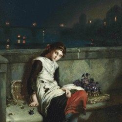 A girl selling purple flowers on a bridge
