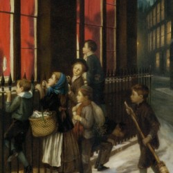 A group of children gazing through the window