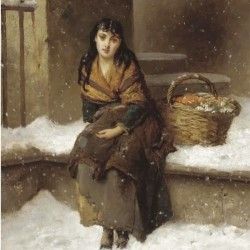 A woman in the snow with a grocery basket