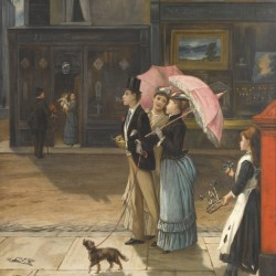 A young family walking the dog