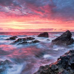 Colorful Sunset at Wild Coast on the Canary Islands