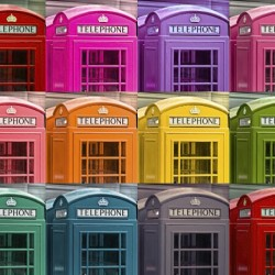 Multicoloured telephone boxes
