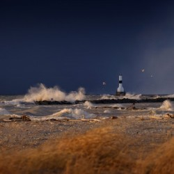 Lighthouse at Conneaut Ohio on Lake Erie during storm