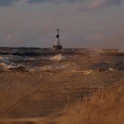 Conneaut Ohio lighthouse during storm