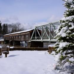 Harpersfield Ohio covered bridge winter and snow