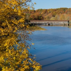 Harpersfield Ohio covered bridge autumn 2020