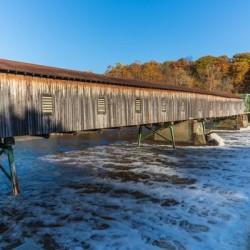 Harpersfield covered bridge and dam Ashtabula County autumn 2020