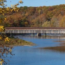 Harpersfield Ohio covered bridge in autumn