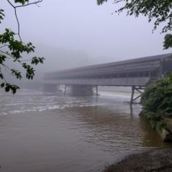 Harpersfield Ohio covered bridge in fog