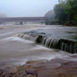 Harpersfield covered bridge and grand river rapids