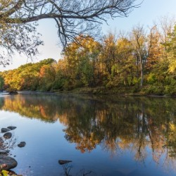 Autumn morning on the Grand River at Mechanicsville Ohio
