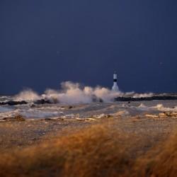 Conneaut lighthouse in storm
