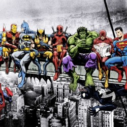 Marvel and DC Superheroes Lunch Atop A Skyscraper Featuring Captain America, Iron Man, Batman, Wolverine, Deadpool, Hulk, Flash & Superman