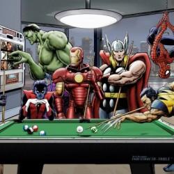 Afterhours: Marvel Superheroes Relax  Playing Pool featuring X-Men & Avengers, Wolverine, Spider-Man, Black Widow, Nightcrawler, Iron Man and Hulk
