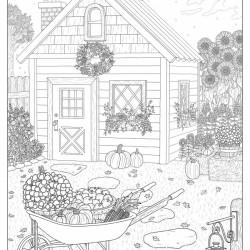 Autumn Cottage Coloring Page