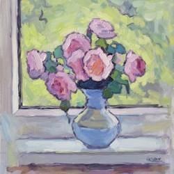 Tea Roses Bouquet on the Windowsill