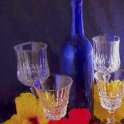 Painterly Blue Wine Bottle with four Crystal and Tropical Flowers