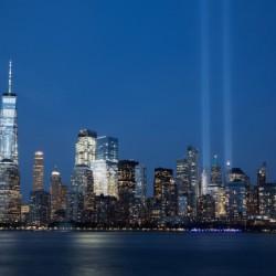 911 Memorial Lights NYC skyline