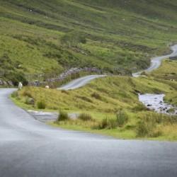 Winding Welsh mountain road