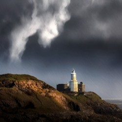 Mumbles lighthouse in the rain
